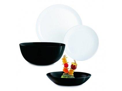Jídelní souprava talířů Diwali bílá a černá
