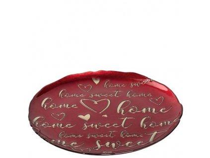 leonardo cerveny talir home sweet home dekoracni