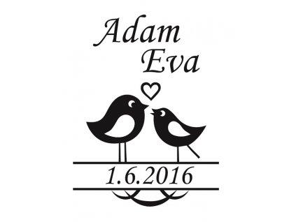 Pískování motivu Ptáčci s datem svatby na kalíšku sklenice