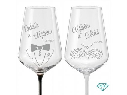 Svatební skleničky na víno Novomanželé B&W s krystaly, 2 ks