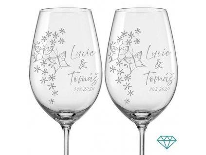 svatební skleničky s motýly krystaly 2 ks