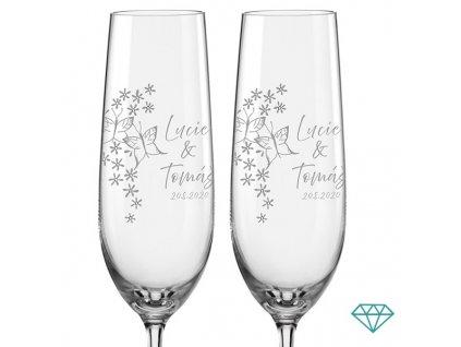 svatební skleničky s krystaly Motýli 2 ks