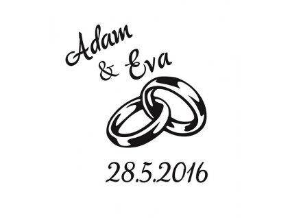 Pískování motivu Prstýnky s datem svatby na kalíšku sklenice
