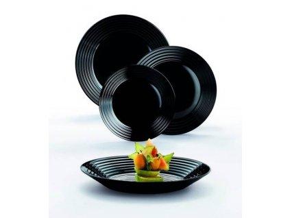 Souprava 18 ks černým talířů