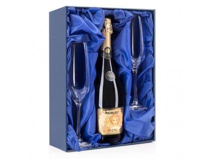 dárková krabička na sklenice na sekt a láhev sektu modrý satén