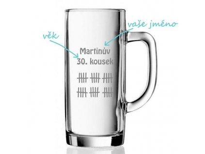 pískovaný půllitr se jménem a motivem martinův kousek