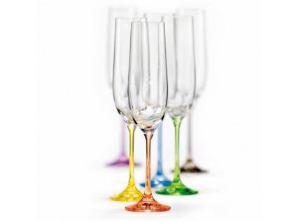 Crystalex Sklenice na šumivé víno VIOLA Rainbow 190 ml