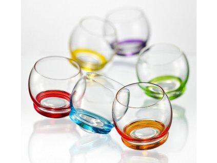 Crystalex Barevné tančící skleničky mini CRAZY 60 ml