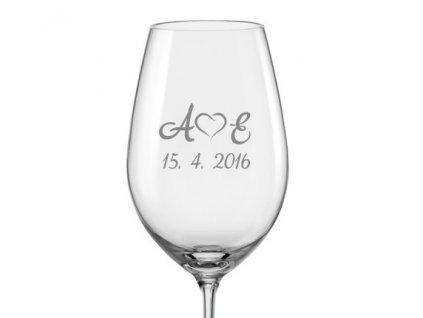 monogram se srdcem svatební sklenička s03 viola 350 v