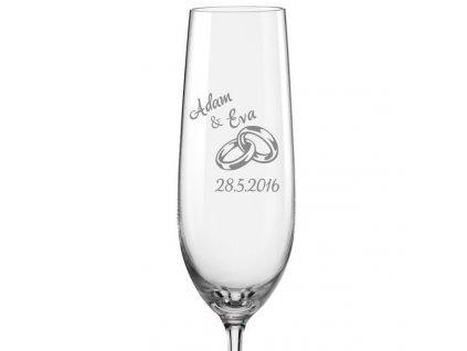 Svatební skleničky na sekt Prstýnky s datem na kalíšku 2