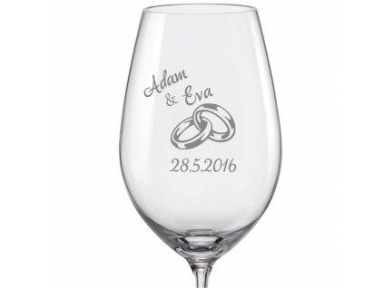 Svatební skleničky na víno Prstýnky s datem na kalíšku (2)