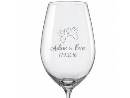 Svatební skleničky na víno Hrdličky