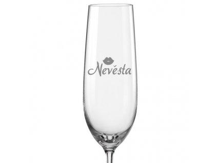 Svatební skleničky na sekt Nevěsta s datem na dýnku