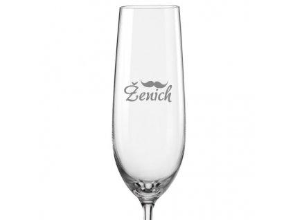 Svatební skleničky na sekt Ženich s datem na dýnku