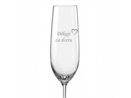 Svatební sklenička na sekt Děkuji za dceru s datem svatby na dýnku, 1ks