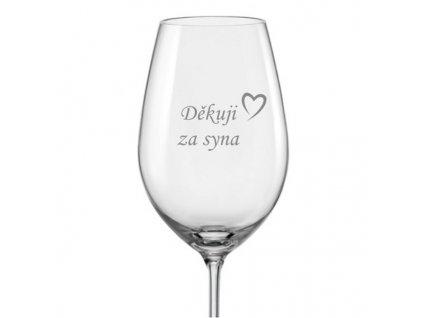 Svatební sklenička na víno Děkuji za syna s datem svatby na dýnku, 1ks