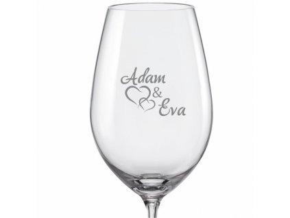 svatební skleničky spojená srdce s datem na dýnku s06 viola 350 v