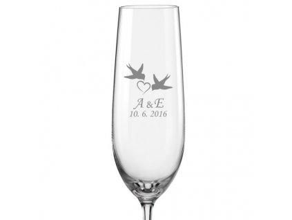 Svatební skleničky na sekt Vlaštovky