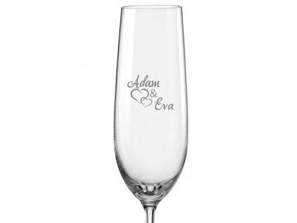 svatební skleničky spojená srdce s datem na dýnku s06Viola 190 v