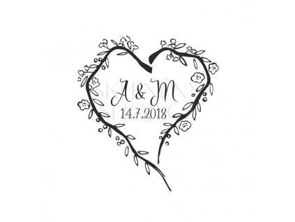 Pískování svatebního motivu Srdce z větviček