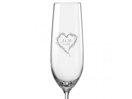 svatební skleničky srdce z větviček 4 Viola 190 v