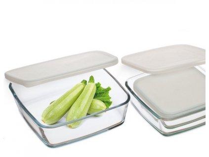 Sada hranatých skleněných zásobníků na potraviny, 3 ks