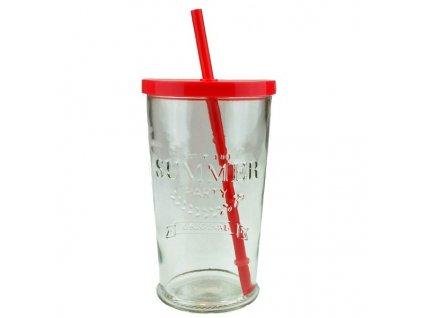 sklenice s brčkem summer fun 0,5 l červená