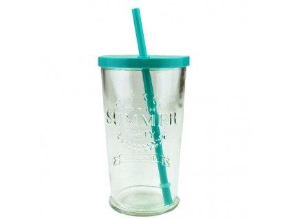 sklenice s brčkem summer fun 0,5 l modrá