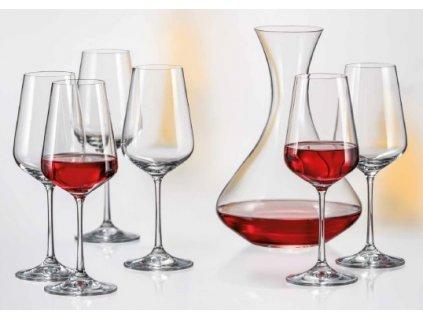 Crystalex SANDRA set karafa a sklenice na víno (1+6)