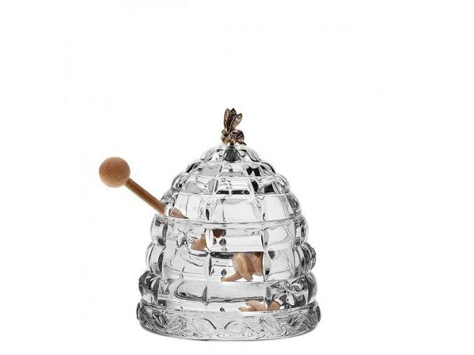Crystal Bohemia Skleněná dóza Včelí úl 115 mm