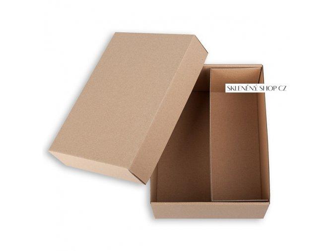 hnědá krabička na dvě sklenice