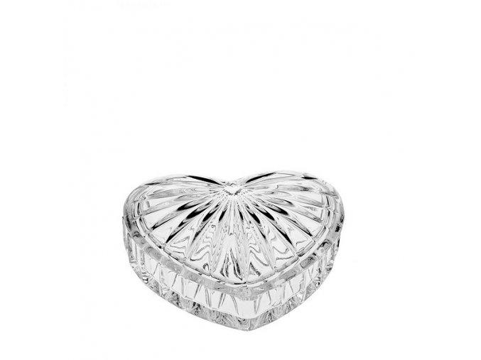 Crystal Bohemia Skleněná dóza ve tvaru srdíčka 110 mm