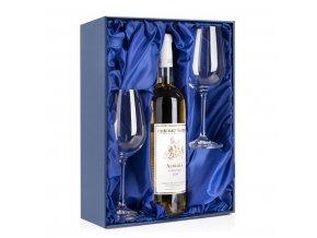 dárková krabice na 2 sklenice na víno a láhev vína satén