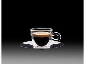 Luigi Bormioli Dvoustěnný šálek na Espresso s nerezovým podšálkem 65 ml