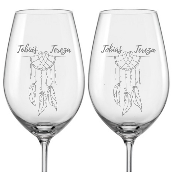 Levně Svatební skleničky na víno Lapač snů s datem svatby na dýnku, 2 ks