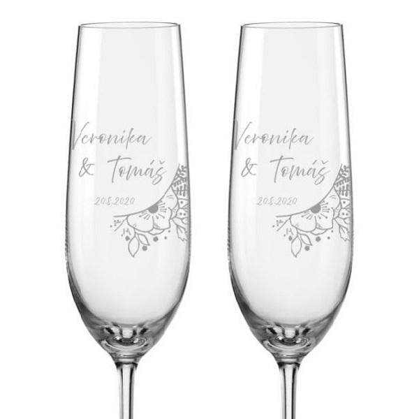 Svatební skleničky na sekt Svatební kytice, 2 ks