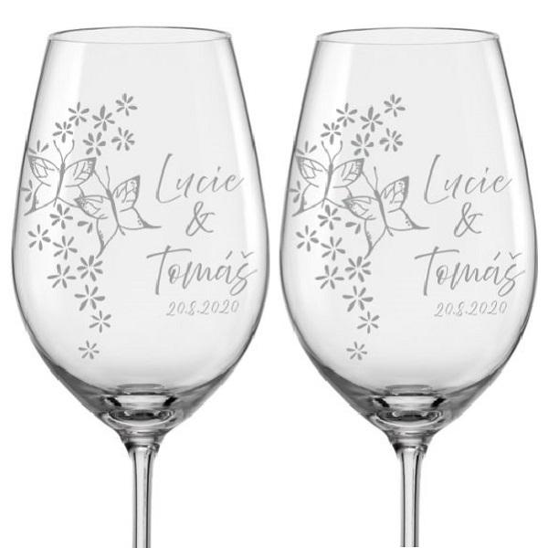 Levně Svatební skleničky na víno Motýlci, 2 ks