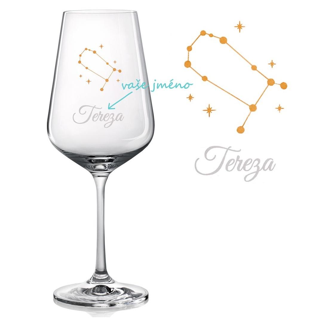 Sklenice na víno se SOUHVĚZDÍM BLÍŽENCI A JMÉNEM
