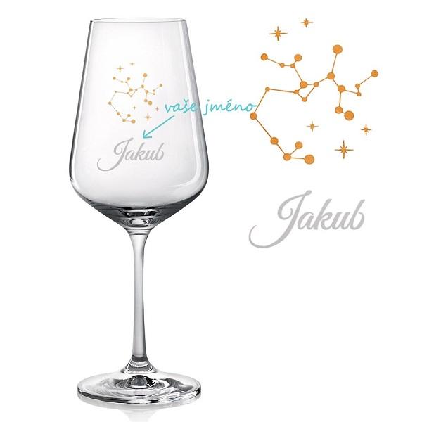 Sklenice na víno se SOUHVĚZDÍM STŘELCE A JMÉNEM