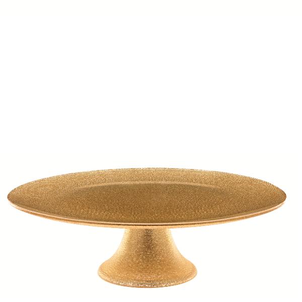 Luigi Bormioli GLITTER podnos na dort zlatý 33 cm