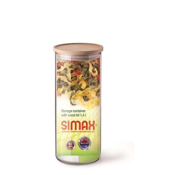 Simax Dóza na potraviny s dřevěným víčkem 1,4 l
