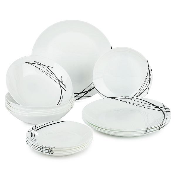 Luminarc Jídelní souprava talířů DOMITILLE NOIR, 18 ks
