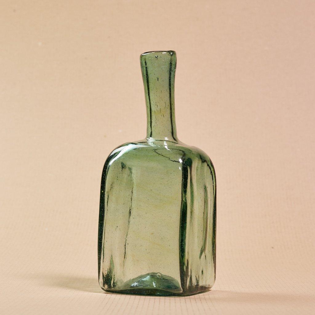 Sklená fľaša - ľudové sklo - ručne tvarované - sklený sen