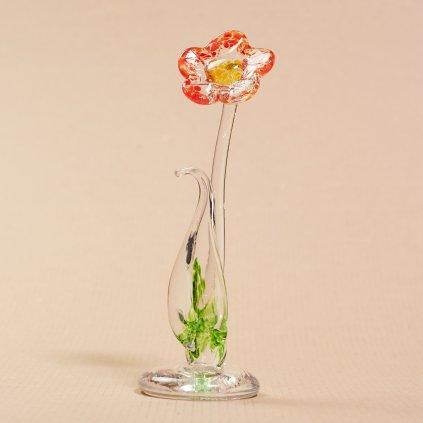 Sklený kvet na podstavci - ozdoba - sklený sen