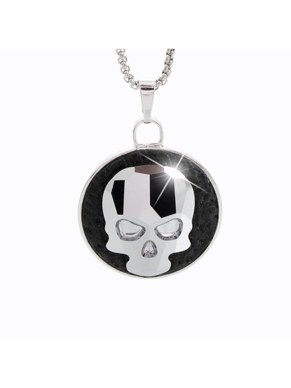 Náhrdelník Lebka s kameny Swarovski® Chrome
