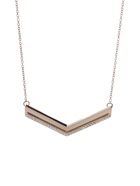 J61300458RG Ocelový náhrdelník Arrow s kameny Swarovski® Rose Gold