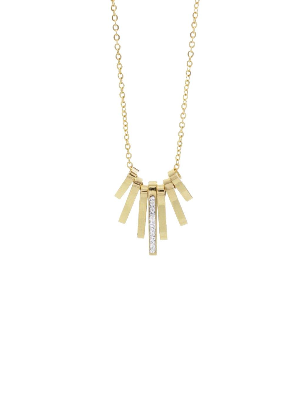 J61300462G Ocelový náhrdelník Tyčinky s kameny Swarovski® Gold