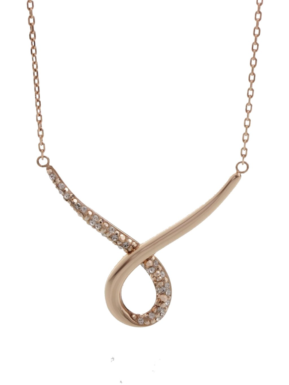J61300470RGGOcelový náhrdelník Smyčka s kameny Swarovski® Rose gold gold