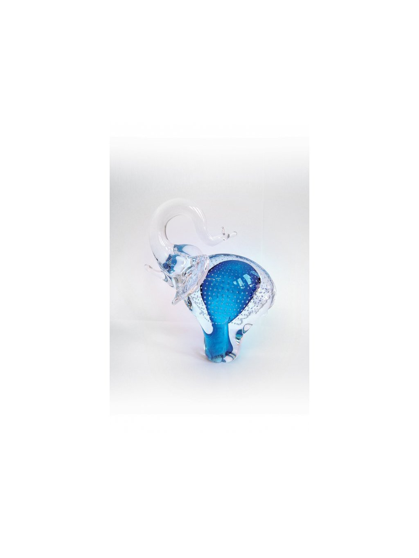 Skleněný slon malý modrý bublina