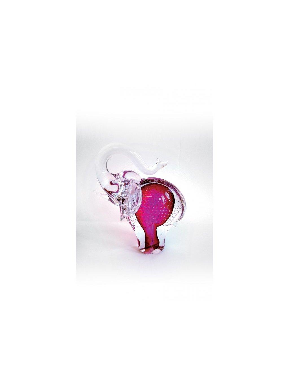 Skleněný slon malý růžový bublina